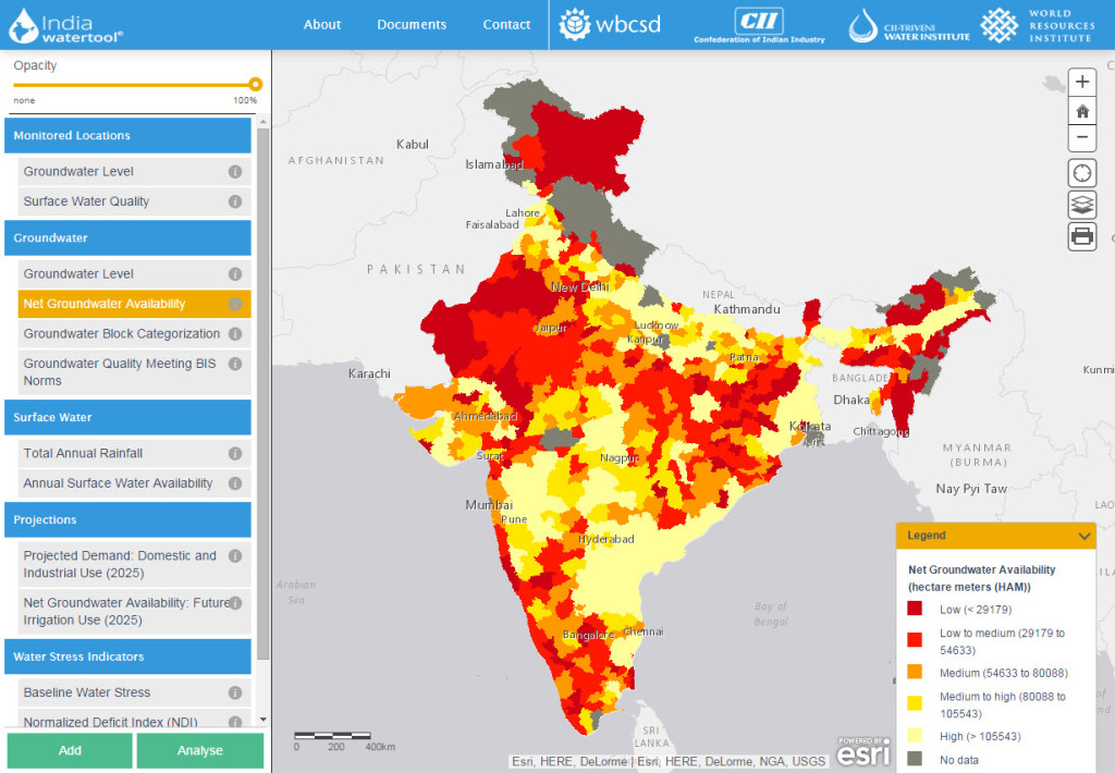 India Water Tool, Net Groundwater Availability Map