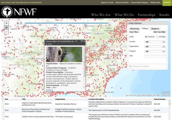 NFWF Grant Mapper