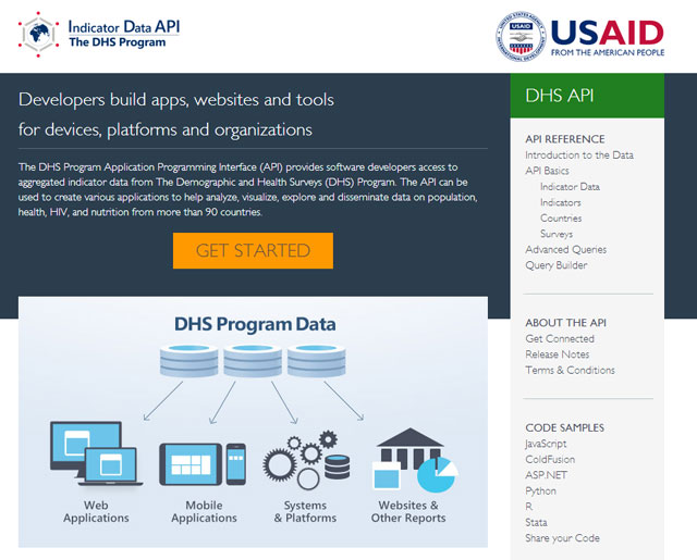 DHS Program API Homepage