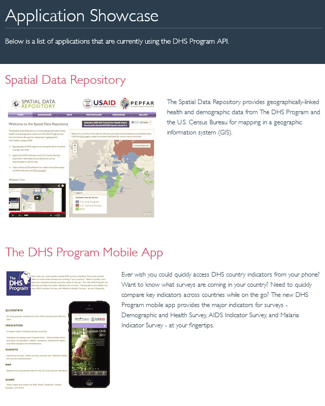 DHS Program API Application Showcase