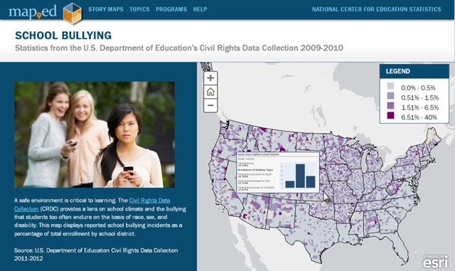 Map Ed Storymap on Bullying