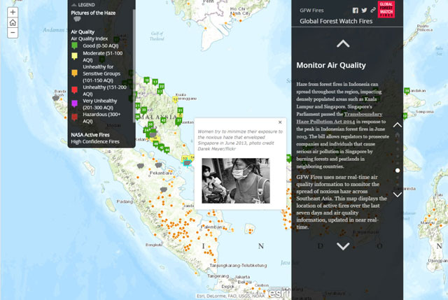 map showing air quality monitor data