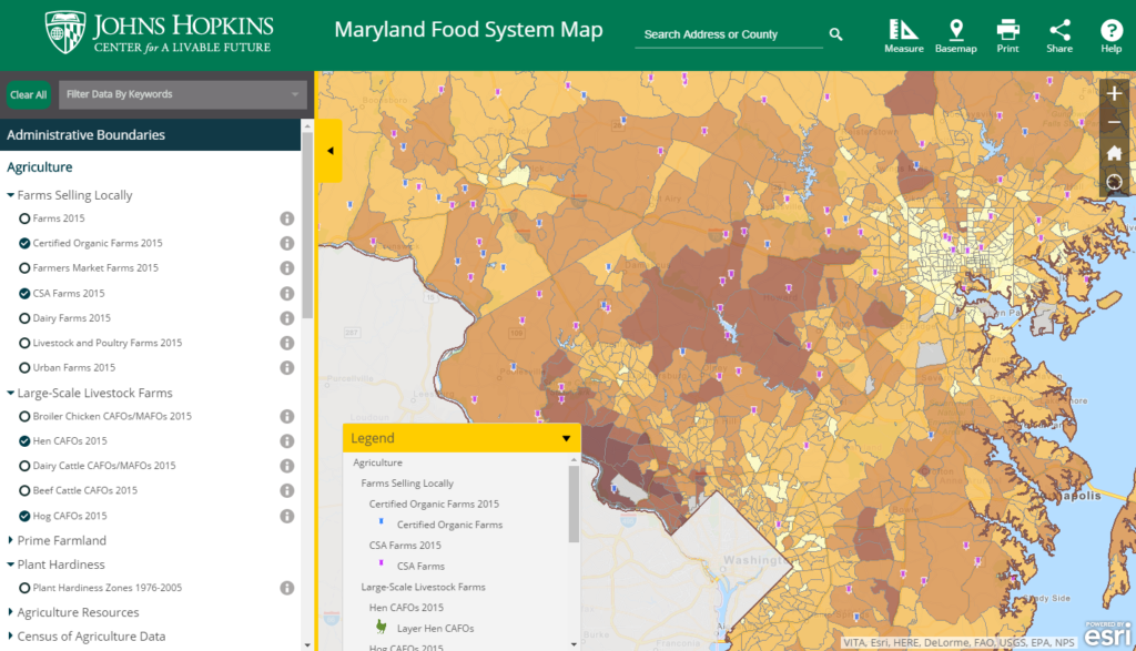 Untangling the food system web in maryland blue raster users can explore the map to better understand geographic patterns and trends in their community create their own map or download data for their own gumiabroncs Choice Image