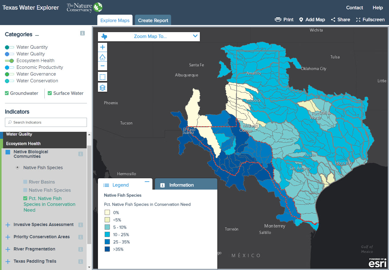 Texas Water Explorer Map of Percent Native Fish Species in Conservation Need by basin