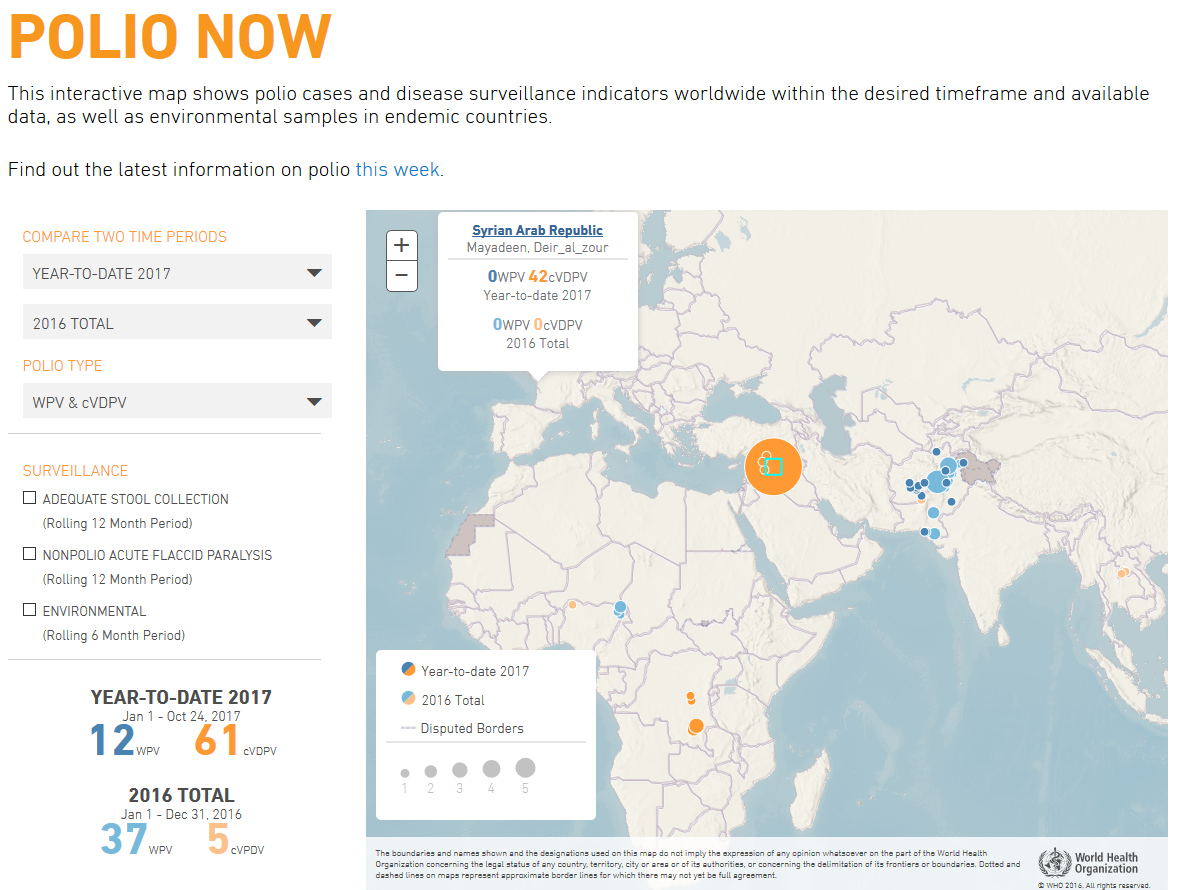 WHO Polio Now web map