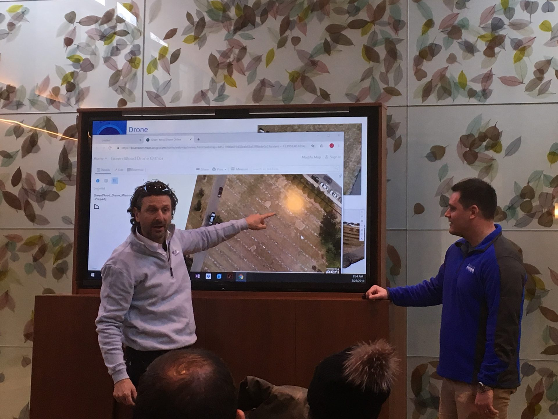 """Turf Guy"" Dr. Frank Rossi of the School of Integrative Plant Science at Cornell University and Christopher Gabris from Blue Raster looking at high resolution drone imagery captured the day before"
