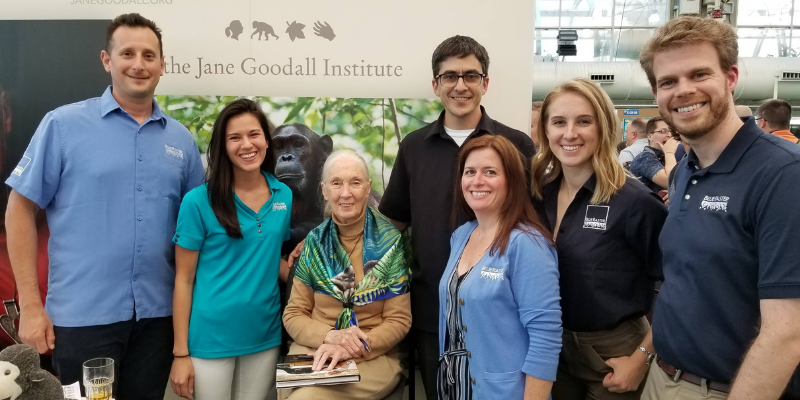 Jane Goodall and the Blue Raster Team