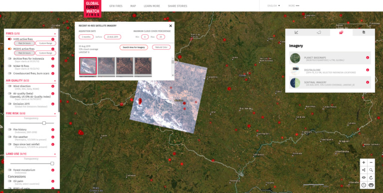 Global Forest Watch Fires Sentinal Imagery